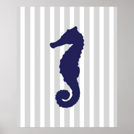 Navy and Grey Striped Nautical Seahorse Print