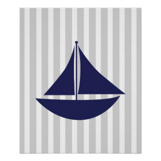 Navy and Grey Striped Nautical Ship Posters