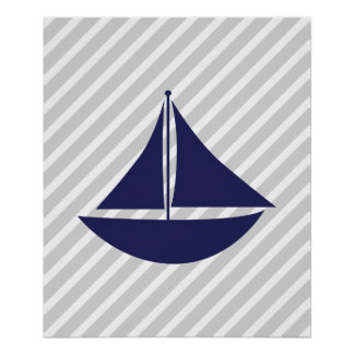 Navy and Grey Striped Nautical Ship Poster
