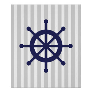 Navy and Grey Striped Nautical Ship Wheel Poster