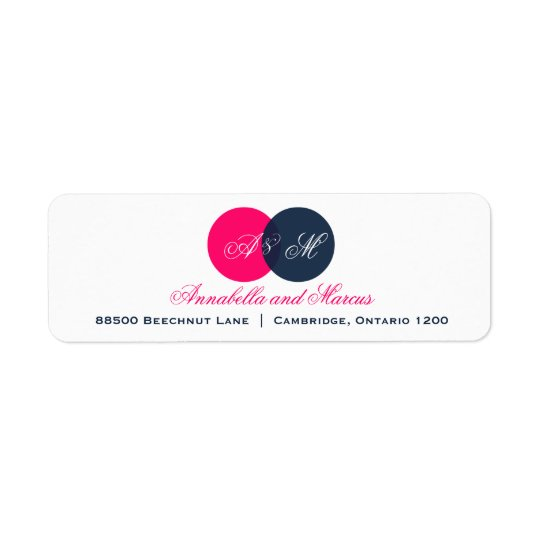 Navy and Hot Pink Entwined Monogram Address Label