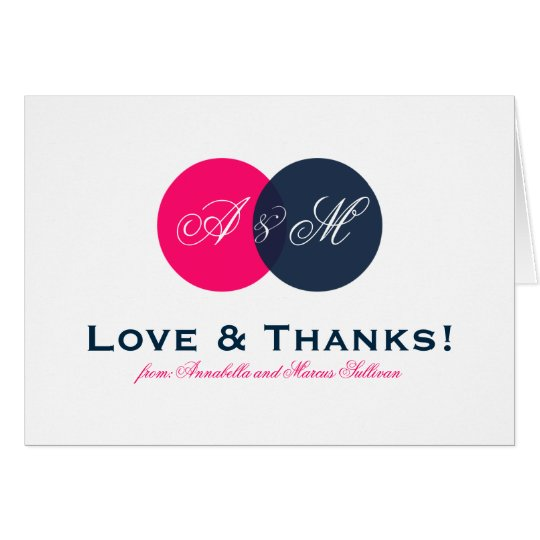 Navy and Hot Pink Entwined Monogram Thank You
