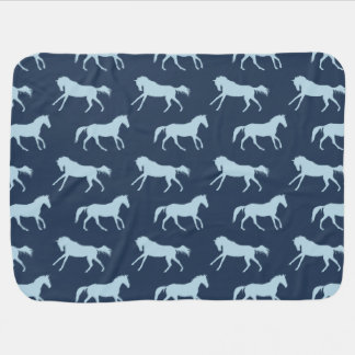 Navy and Hunter Galloping Horses Pattern Baby Blanket