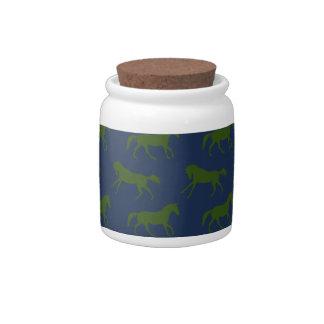 Navy and Hunter Galloping Horses Pattern Candy Jar