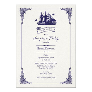 Navy and Ivory Vintage Ship Surprise Party Card