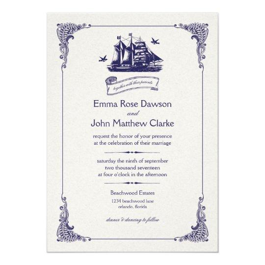Navy and Ivory Vintage Ship Wedding Invitation