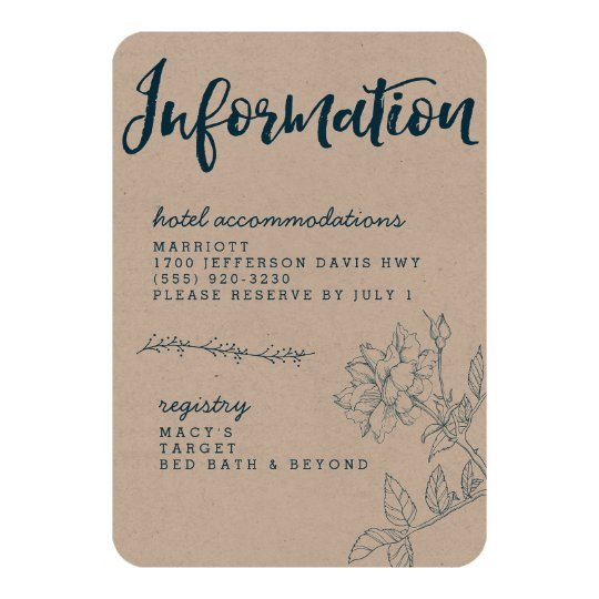 Navy and Kraft Calligraphy Information Card