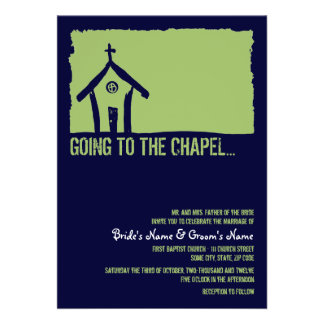 Navy and Lime Chapel Wedding Invitation