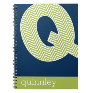 Navy and Lime Chevron Pattern Monogram Letter Q Spiral Notebook