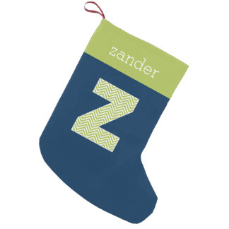 Navy and Lime Chevron Pattern Monogram Letter Z Small Christmas Stocking