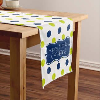 Navy and Lime Polka Dot Personalized Short Table Runner