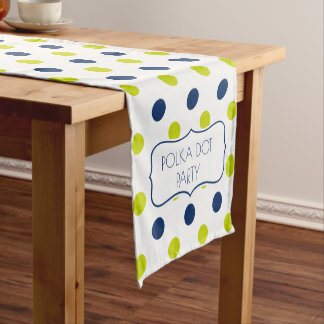 Navy and Lime Polka Dots on White Personalized Short Table Runner