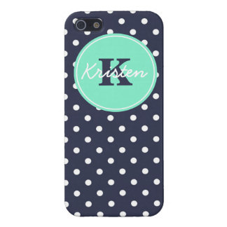 Navy and Mint Dots, Initial, and Name iPhone 5 Cases