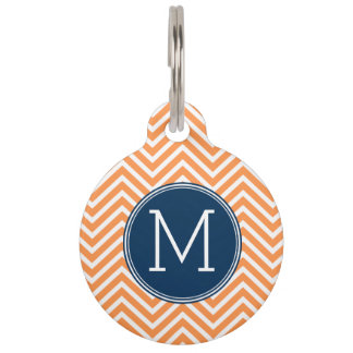 Navy and Orange Chevrons with Custom Monogram Pet Name Tag