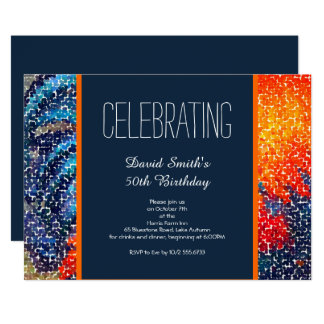 Navy and Orange Guys Birthday Party 13 Cm X 18 Cm Invitation Card