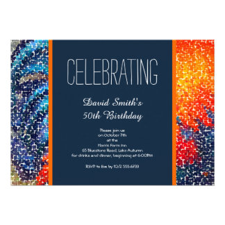 Navy and Orange Guys Birthday Party Cards