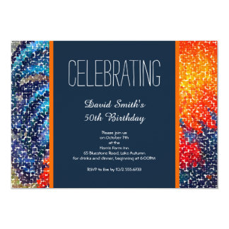 Navy and Orange Guys Birthday Party 13 Cm X 18 Cm Invitation Card