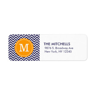 Navy and Orange Modern Chevron Custom Monogram
