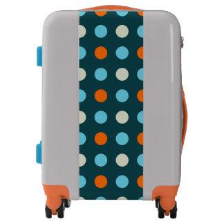 Navy and Orange Polka Dot Luggage
