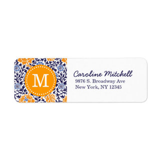 Navy and Orange Retro Floral Damask Monogram