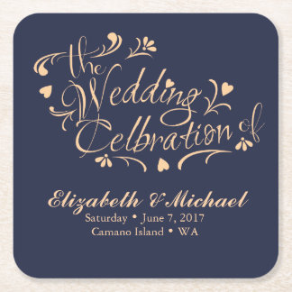 Navy and Peach Wedding Coaster