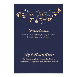 Navy and Peach Wedding Details Card