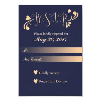 Navy and Peach Wedding RSVP Card