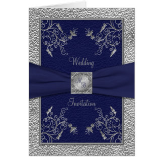 Navy and Pewter Card Style Wedding Invitation