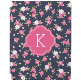 Navy and Pink Chic Vintage Floral Print Monogram iPad Cover