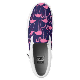 Navy and Pink Flamingo Pattern Slip On Shoes