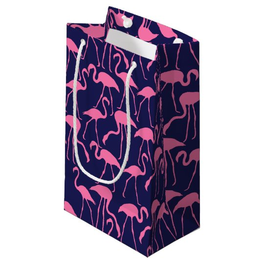 Navy and Pink Flamingo Pattern Small Gift Bag