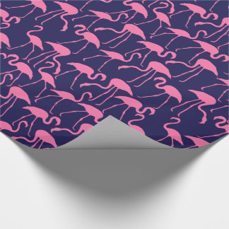Navy and Pink Flamingo Pattern Wrapping Paper