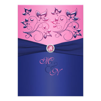 Navy and Pink Floral Monogrammed Invitation