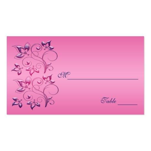 Navy and Pink Floral Placecards Business Card Templates