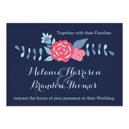 Sparkle Pink And Navy Confetti Gala Wedding Invitation