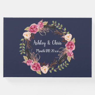 Navy and Pink Flowers Guest Book Boho Guest Book