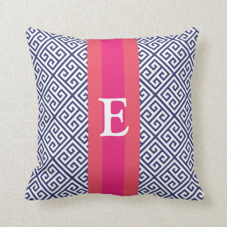 Navy and Pink Greek Key Monogram Pillow