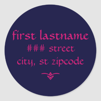 navy and pink return address label - personalize classic round sticker