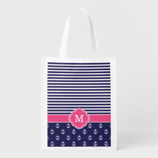 Navy and Pink Stripes and Anchors Monogram Reusable Grocery Bag