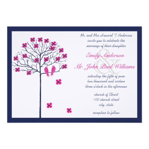 Navy and Pink Vintage Birds on Blooming Tree Custom Invitations