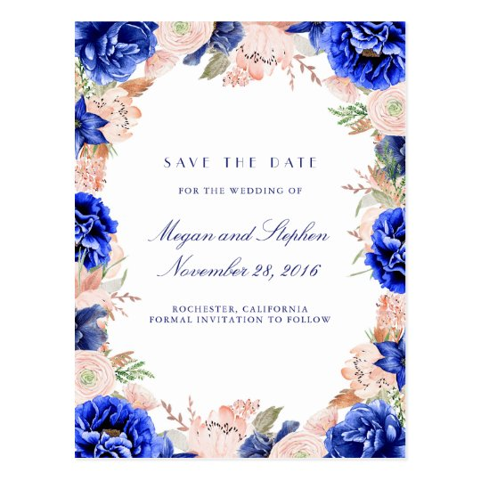 Navy and Pink Watercolor Flowers Save the Date