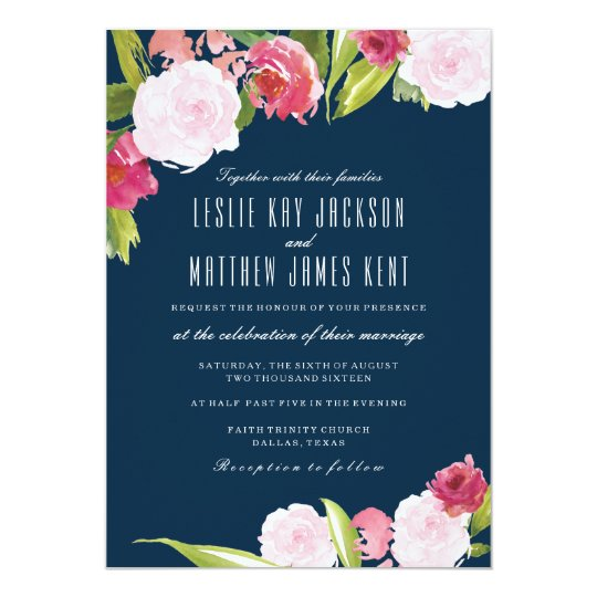 NAVY AND PINK WEDDING INVITATION WITH FLOWERS