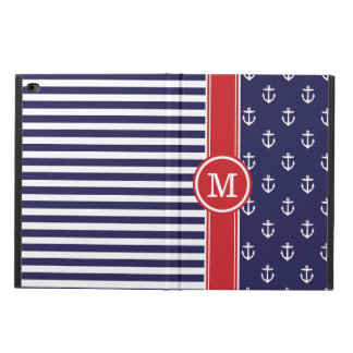 Navy and Red Nautical Anchors Monogram Powis iPad Air 2 Case