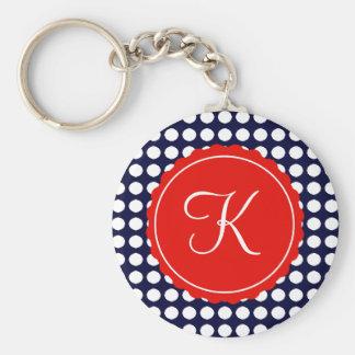 Navy and Red Polka Dots Custom Initial Key Ring