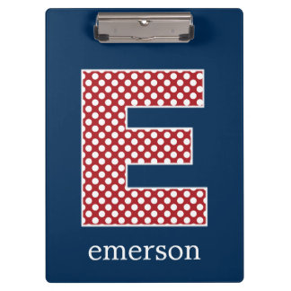 Navy and Red Polka Dots with Monogram Letter E Clipboard