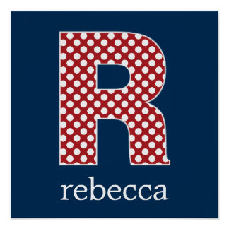 Navy and Red Polka Dots with Monogram Letter R Poster