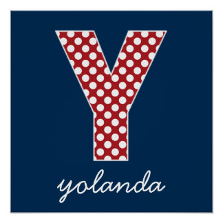 Navy and Red Polka Dots with Monogram Letter Y Poster