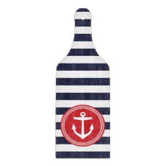 Navy and Red Preppy Nautical Stripes and Anchor Cutting Board