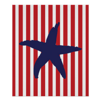 Navy and Red Stripes Nautical Sea Star Print