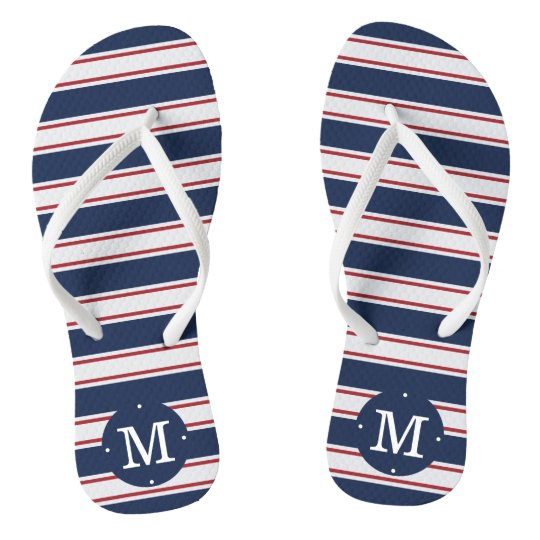 Navy and Red Summer Stripe Monogram Flip Flops